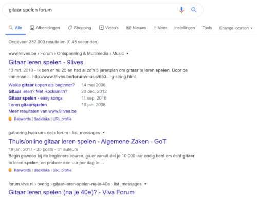Forums zoeken voor zoekwoordenonderzoek