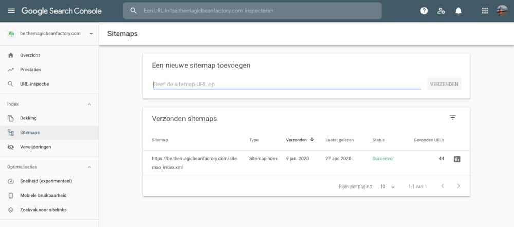 Search console sitemaps