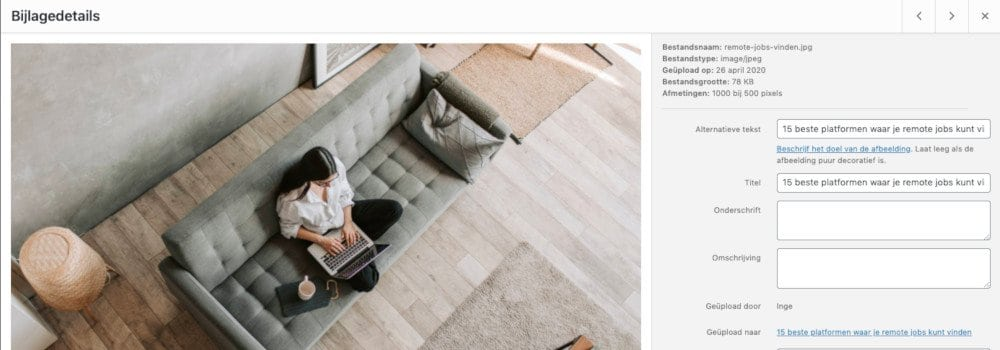 ALT tag voor afbeeldingen in WordPress