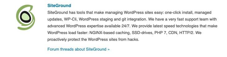 WordPress beveelt Siteground aan
