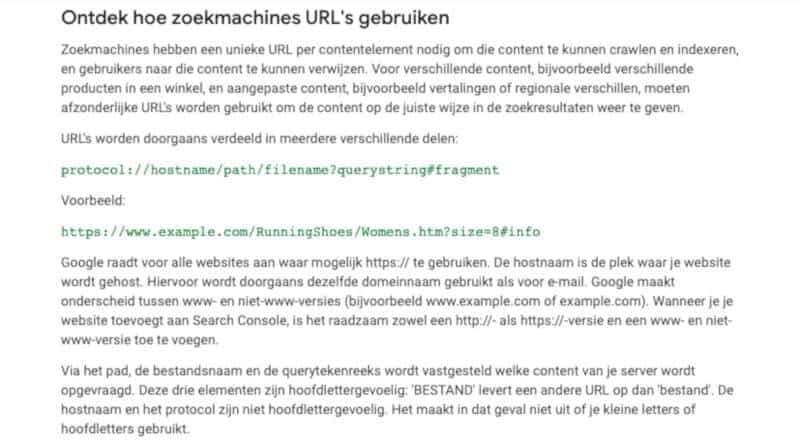 Google SEO gids over urls