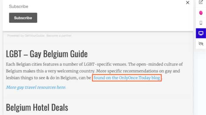 LinkMiner: screenshot van de backlink