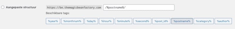 Aangepaste permalink structuur opzetten in WordPress